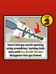 fuel is protected from siphoning theft by inserting the gas bandit blocker into the fuel filler
